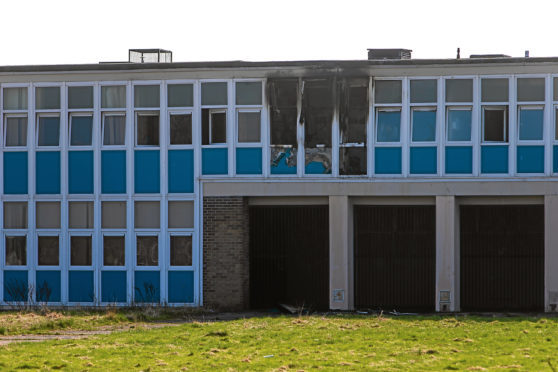 Fire damage to the former Baldragon Academy in Kirkton, following a blaze which took 40 firefighters to tackle.