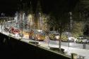 Emergency vehicles on Tay Street in Perth last night.