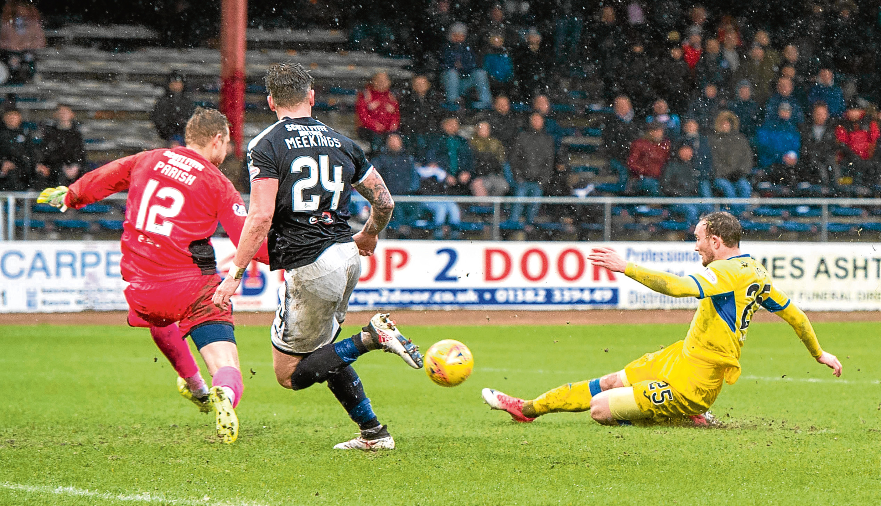 St Johnstone's Chris Kane scores to make it 4-0 when the teams met last month