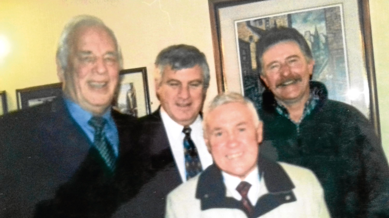 From left — John Charles, Peter Lorimer, Bobby Collins and Joe Nicoll.