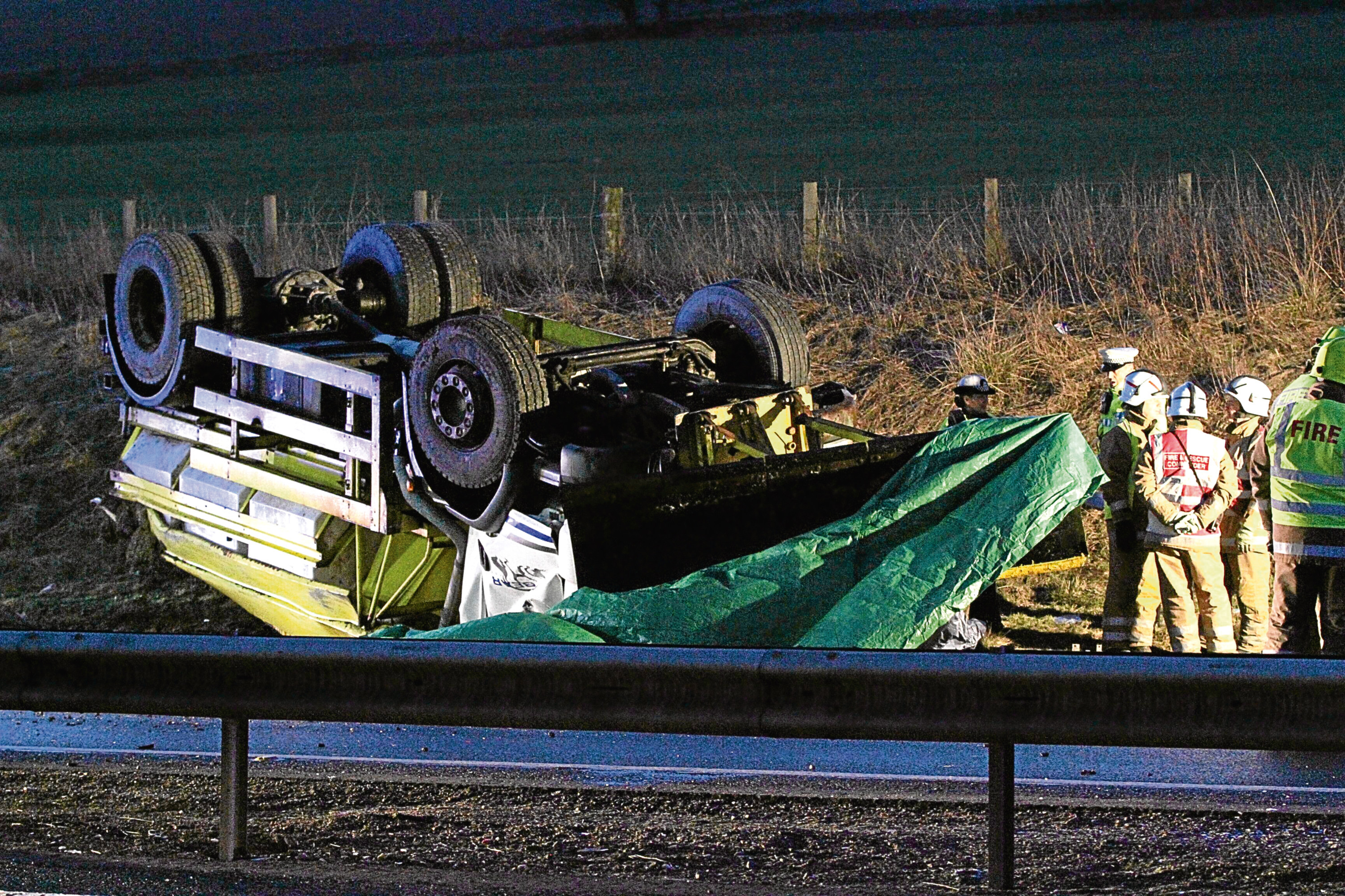 The scene of the accident in which gritter driver David Keith died.