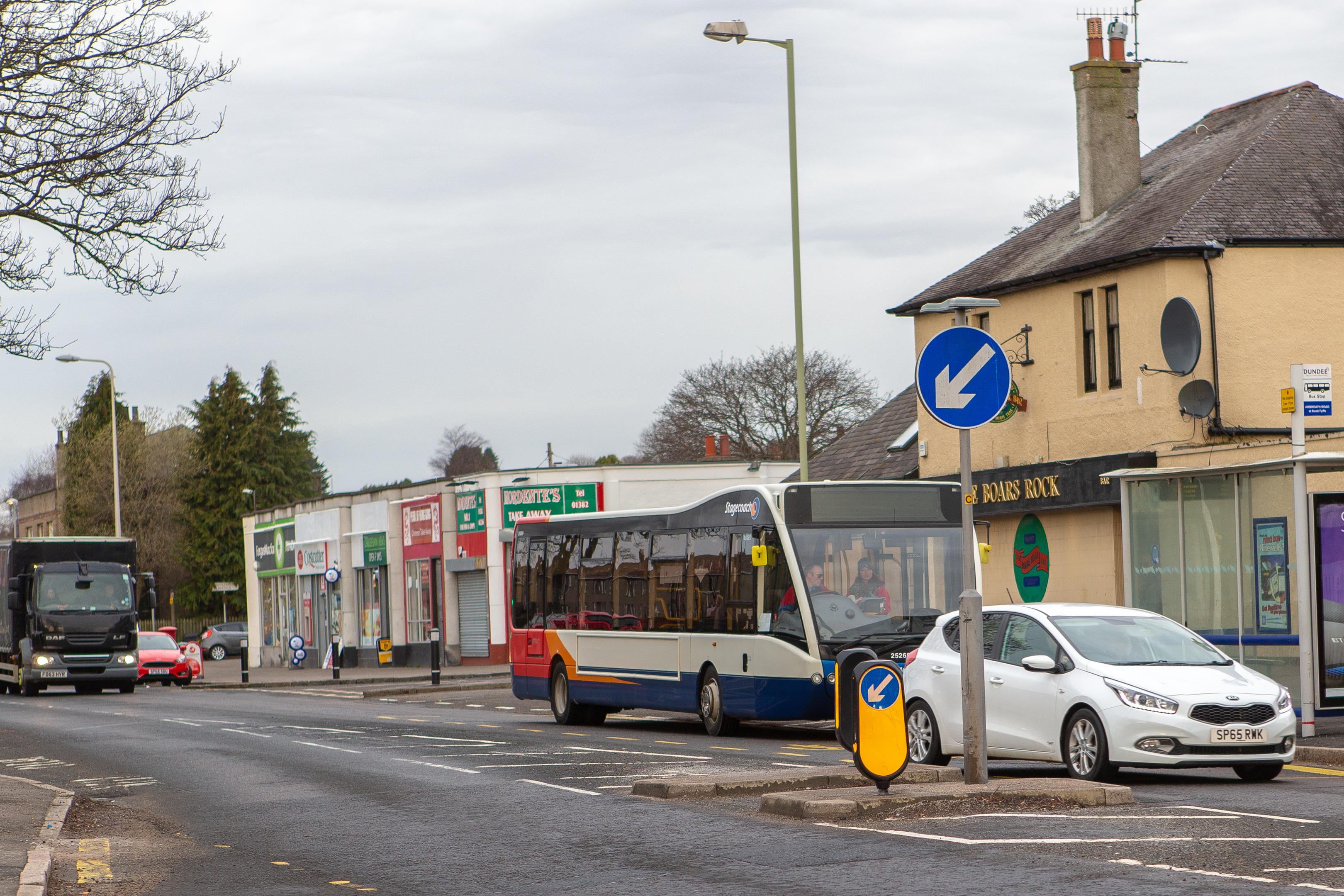 The bus stop on Arbroath Roa,d near Boar's Rock