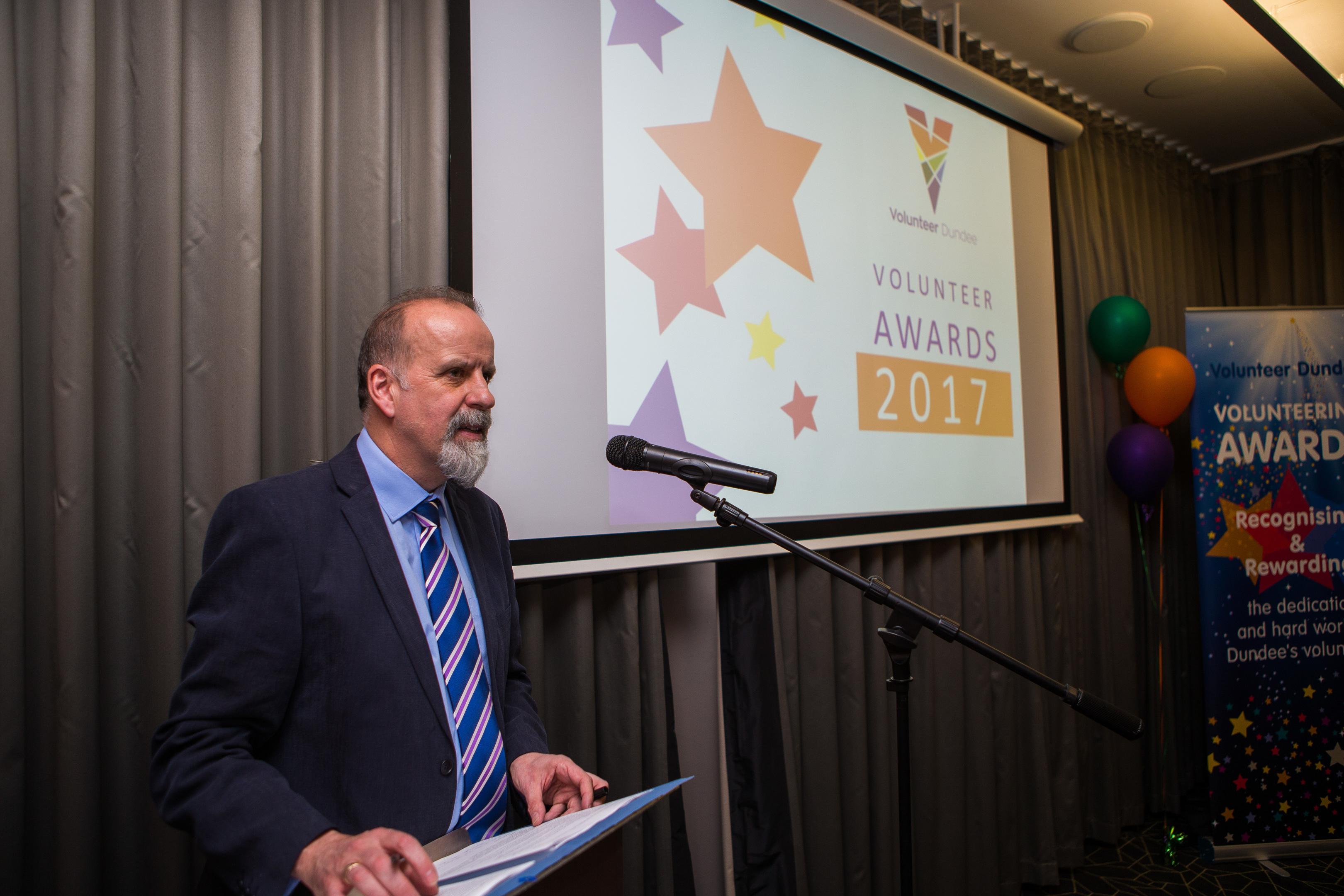 Eric Knox, chief executive of Volunteer Dundee, at last year's awards