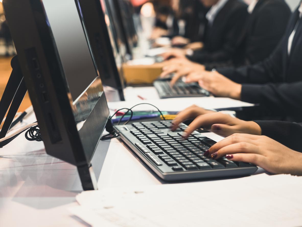 Hand type on keyboard Computer Online Business People Working teamwork receptionist