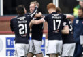 05/05/18 LADBROKES PREMIERSHIP   DUNDEE V HAMILTON   DENS PARK - DUNDEE  Dundee's Kevin Holt (3) celebrates his goal with the Dundee team