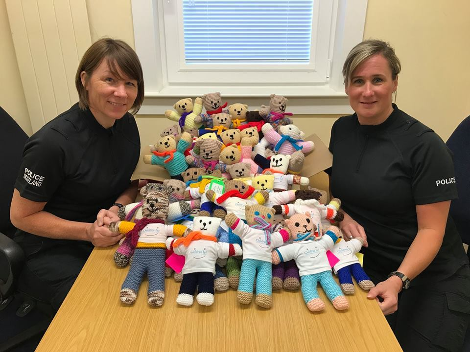 Amanda Watson (left) and Lynsey Jackson (right) of the Longhaugh Community Policing Team with some of the Trauma Teddies