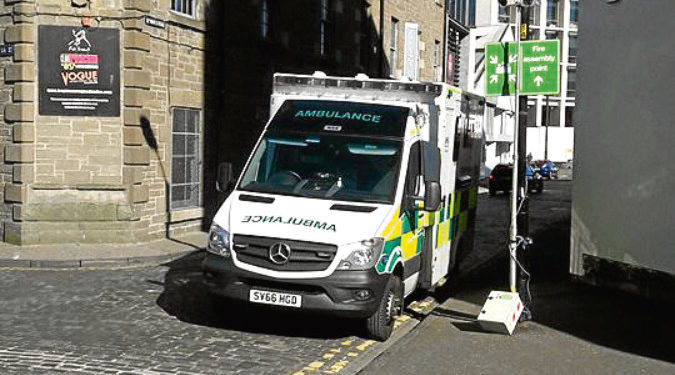 An ambulance on South Ward Road