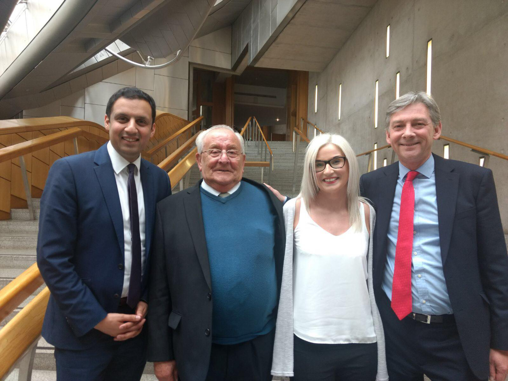 David Ramsay's father David snr and his niece Gillian Murray with Anas Sarwar MSP and Scottish Labour leader Richard Leonard at Holyrood.