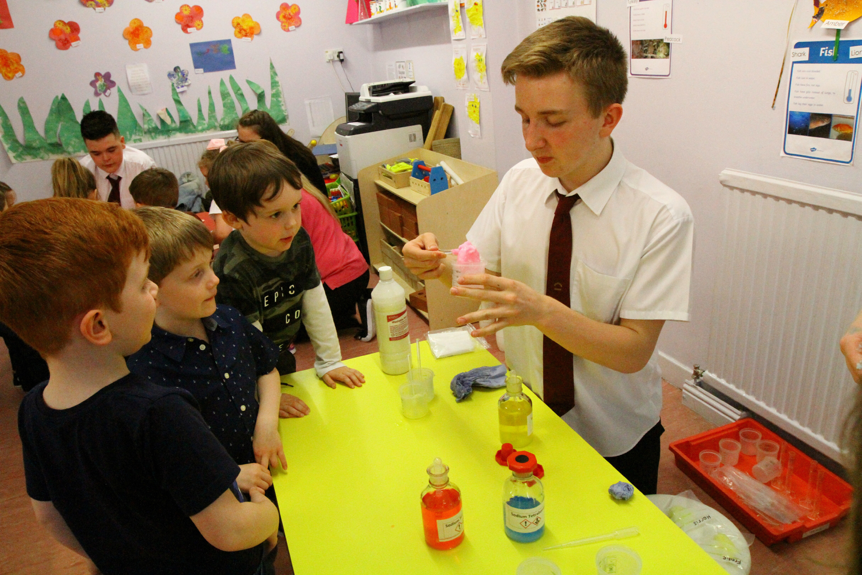 Tele Features - Sarah Williamson story - Nursery Rhymes Nursery. YOUNGSTARS. CR0000900 Picture shows; Braeview Academy S3 pupil Aiden Dalton with some of the kids doing experiments, at the Nursery Rhymes nursery in Broughty Ferry today. Wednesday 2nd May 2018.
