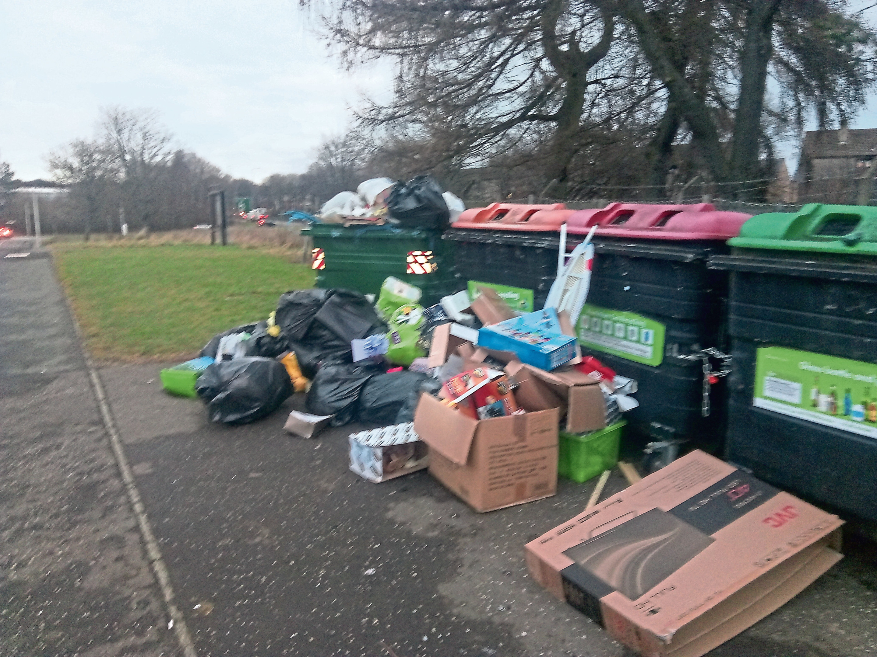 Waste dumped at the recycling site in Mill o' Mains.