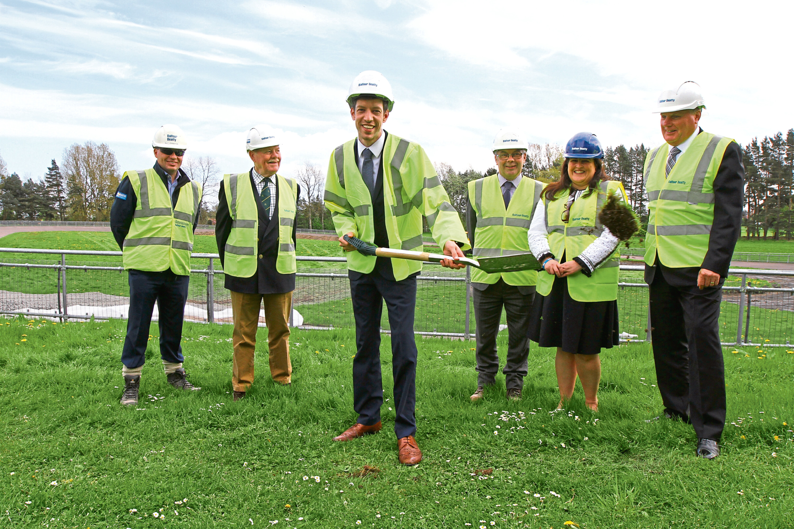 John Alexander and city development convener Councillor Lynne Short with representatives of contractor Balfour Beatty and Leisure and Culture Dundee