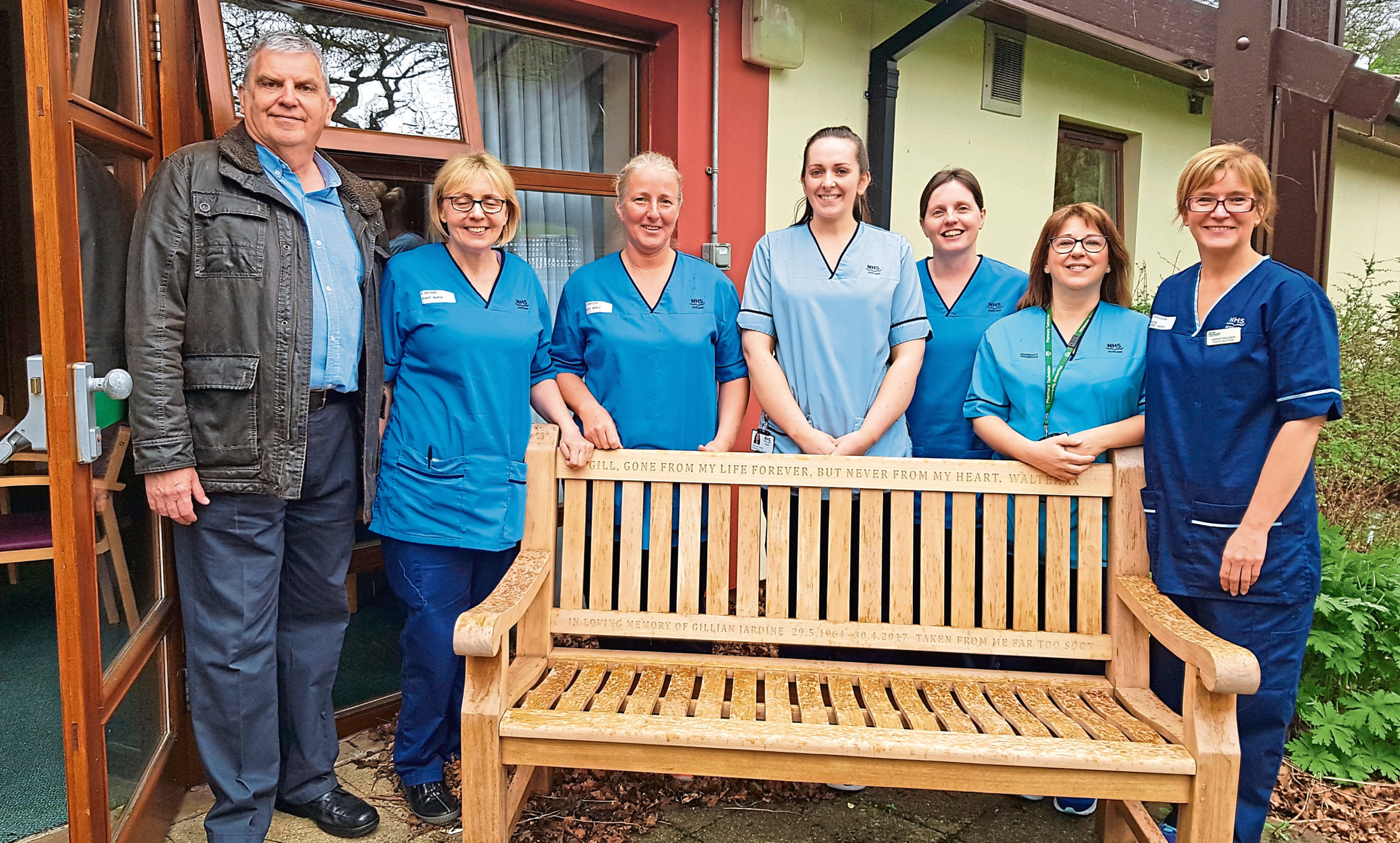 n Pictured, from left, are Walter, staff nurses Audrey Gulson and Dawn Chaplin, rehab assistant Shannen Smith, staff nurse Fiona Foxon, pharmacy technician Teresa Souter and Marnie.