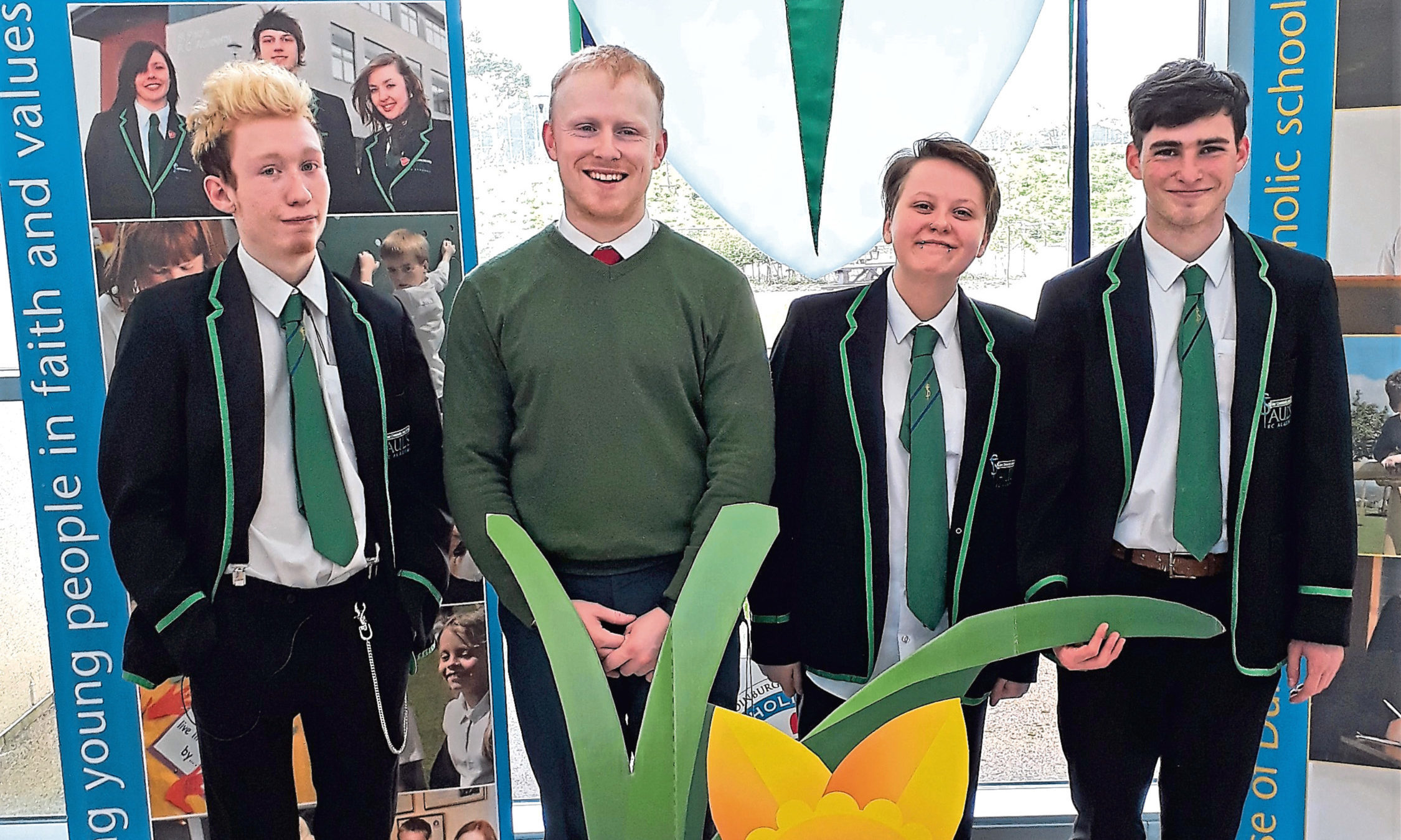 Pictured are, from left, Joseph Dailly, Diarmaid McNulty (support for learning), Rebecca Mackie and Scott Regen