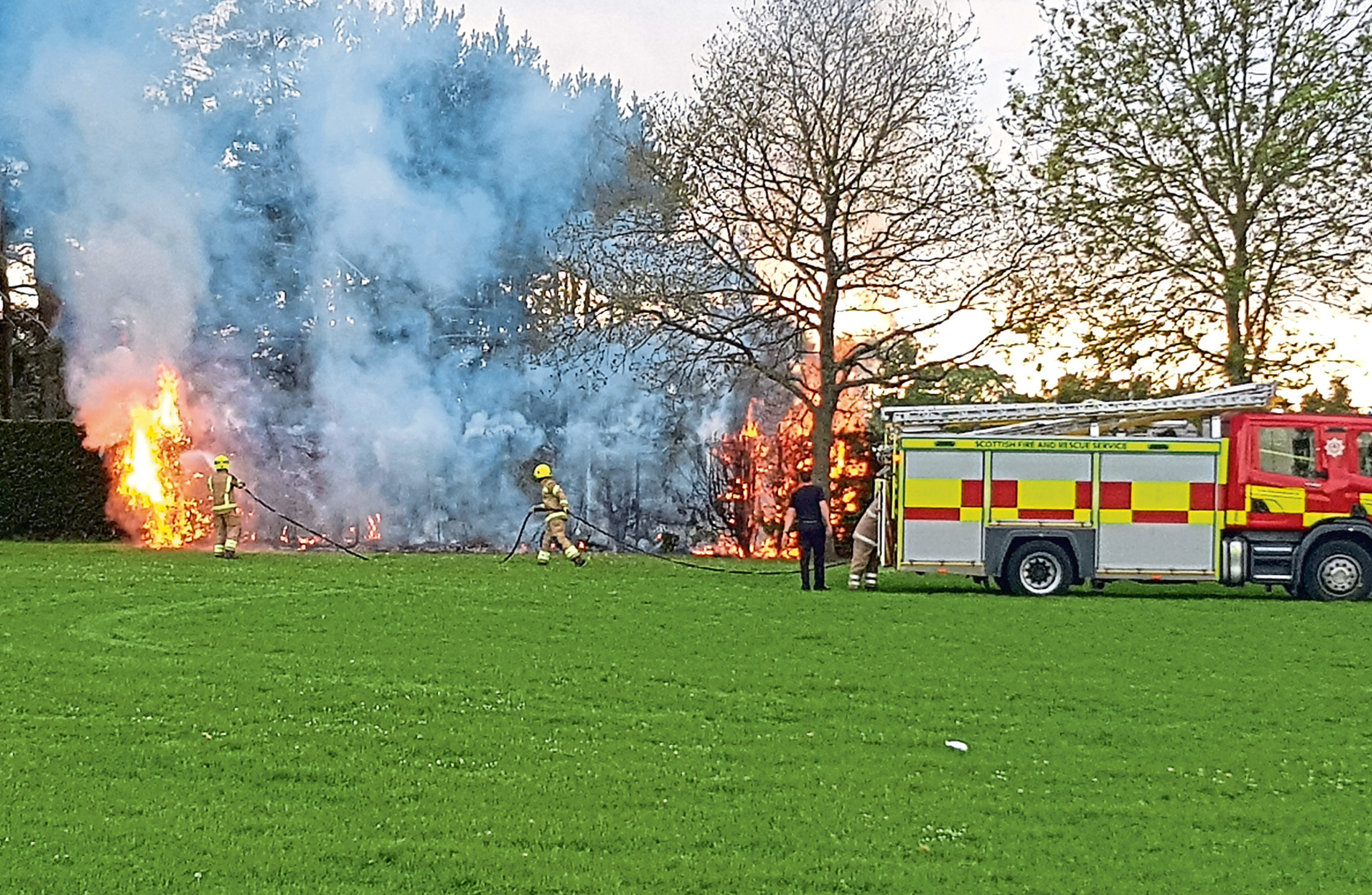 """Fire crews were called to the blaze. Police are treating it as """"suspicious""""."""