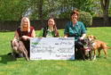 Tele Features - Amy Hall story - Asda Cheque Presentation. CR0001326 Picture shows; Samantha Will - Community Champion Asda Kirkton, handing over the cheque for ?500, from Asda Kirkton 'green token giving', to the Staffie Smiles Rescue with Fiona Shepherd, right, Head Nurse, holding Stella (Brown dog) and Blaze, with Sharon Mitchell, left, holding Clyde at Parkside Vets in Dundee today. Wednesday 16th May 2018.