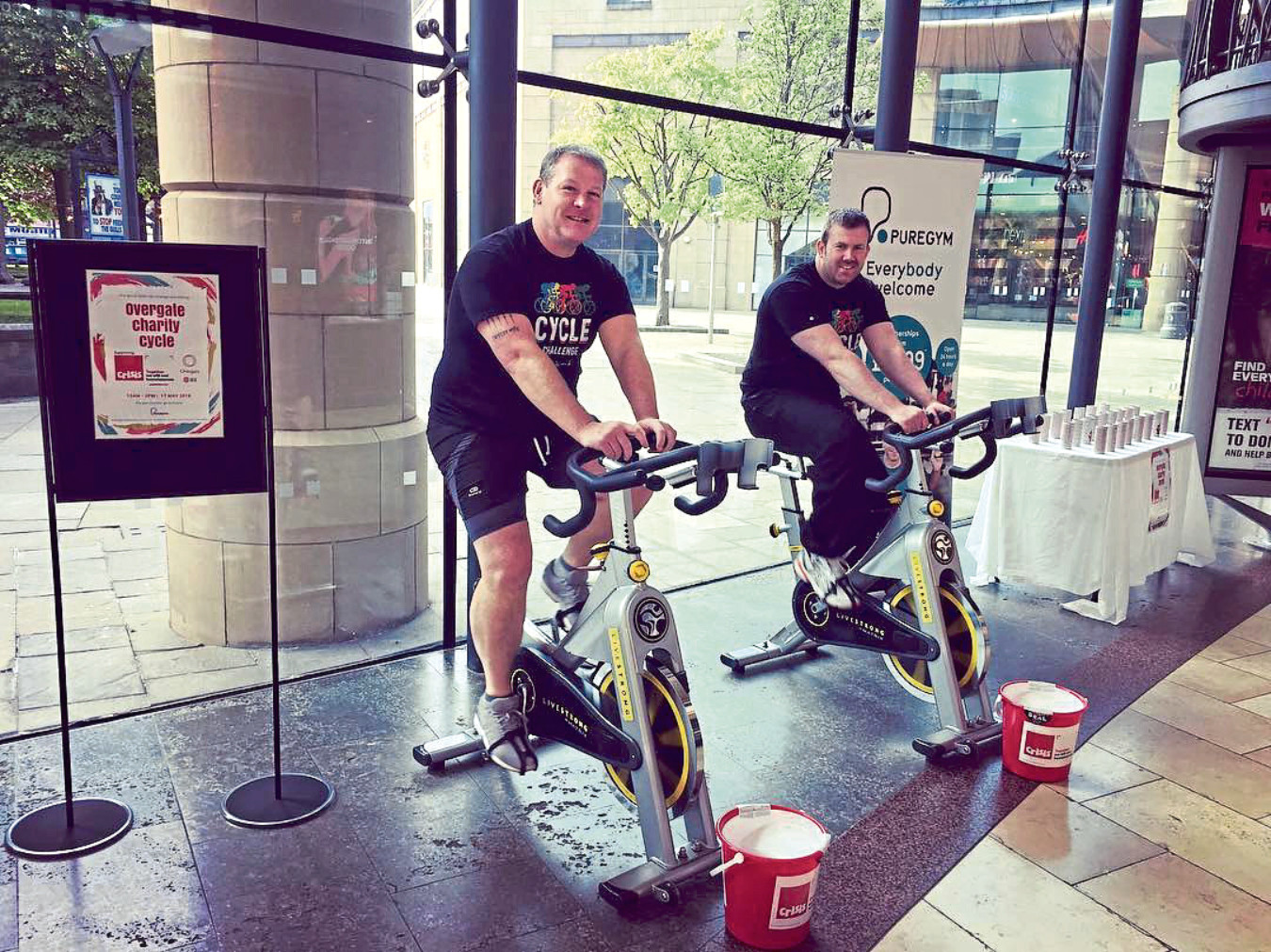 From: Mary McGowne [mailto:mary@thevineprcompany.co.uk]  Sent: 22 May 2018 08:52 To: Evening Telegraph Newsdesk Public Folder  Subject: Overgate & JLL Charity Cycle Fundraiser  Good morning,  Please find attached a picture of Malcolm Angus, Centre Manager of Overgate (left) and Ryan Short, Surveyor of JLL.  Along with the Overgate team, they took part in a charity cycle within the centre benefiting Crisis, the national charity for homeless people.  Over 300km were cycled in 4 hours and £135.60 was raised.  Many thanks,  Mary  Mary McGowne Managing Director THE VINE PR & EVENTS T  00 44 (0)141 810 5110  M 07786 23 1066 www.thevineprcompany.co.uk