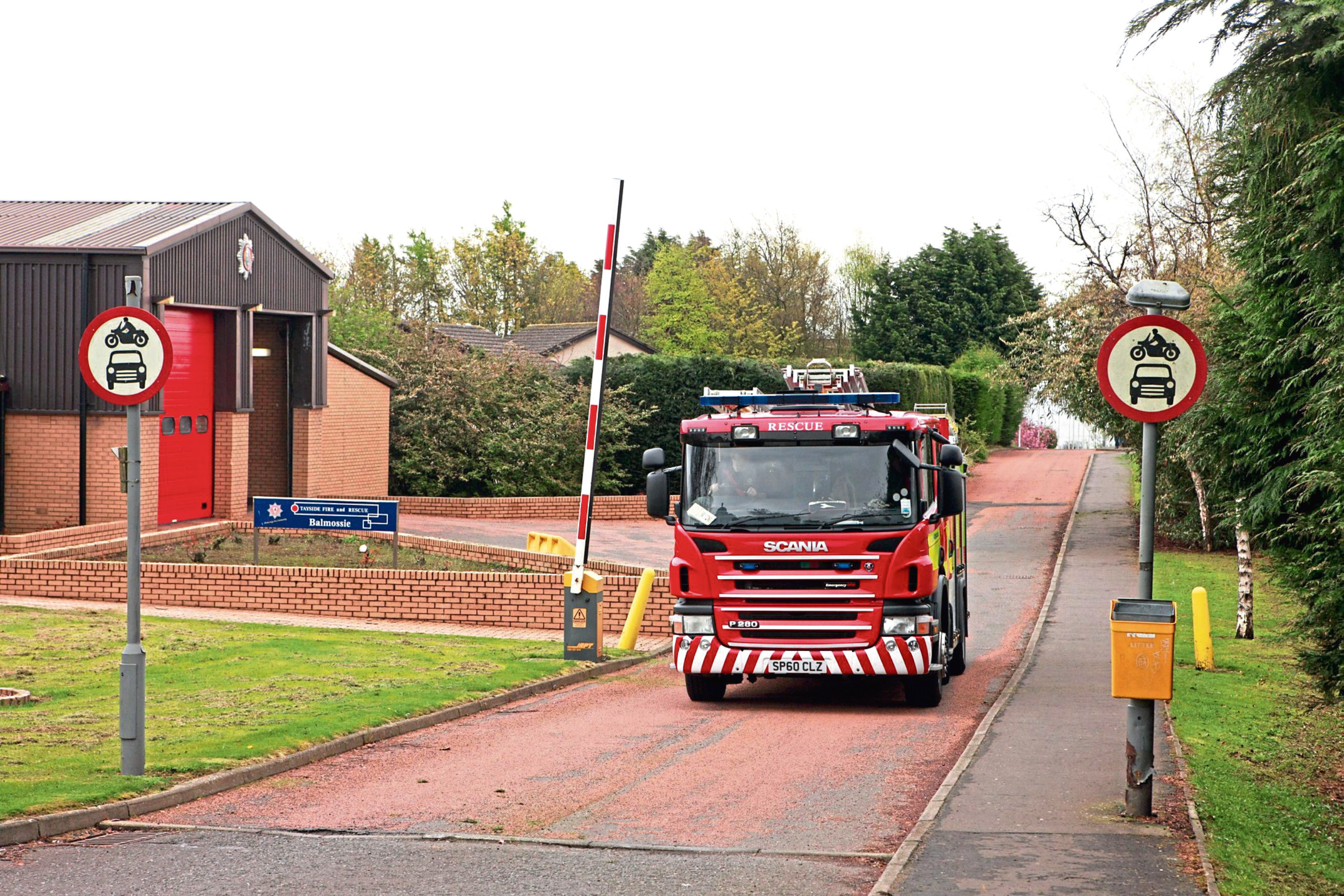 A fire engine coming from Balmossie Fire Station , Dundee