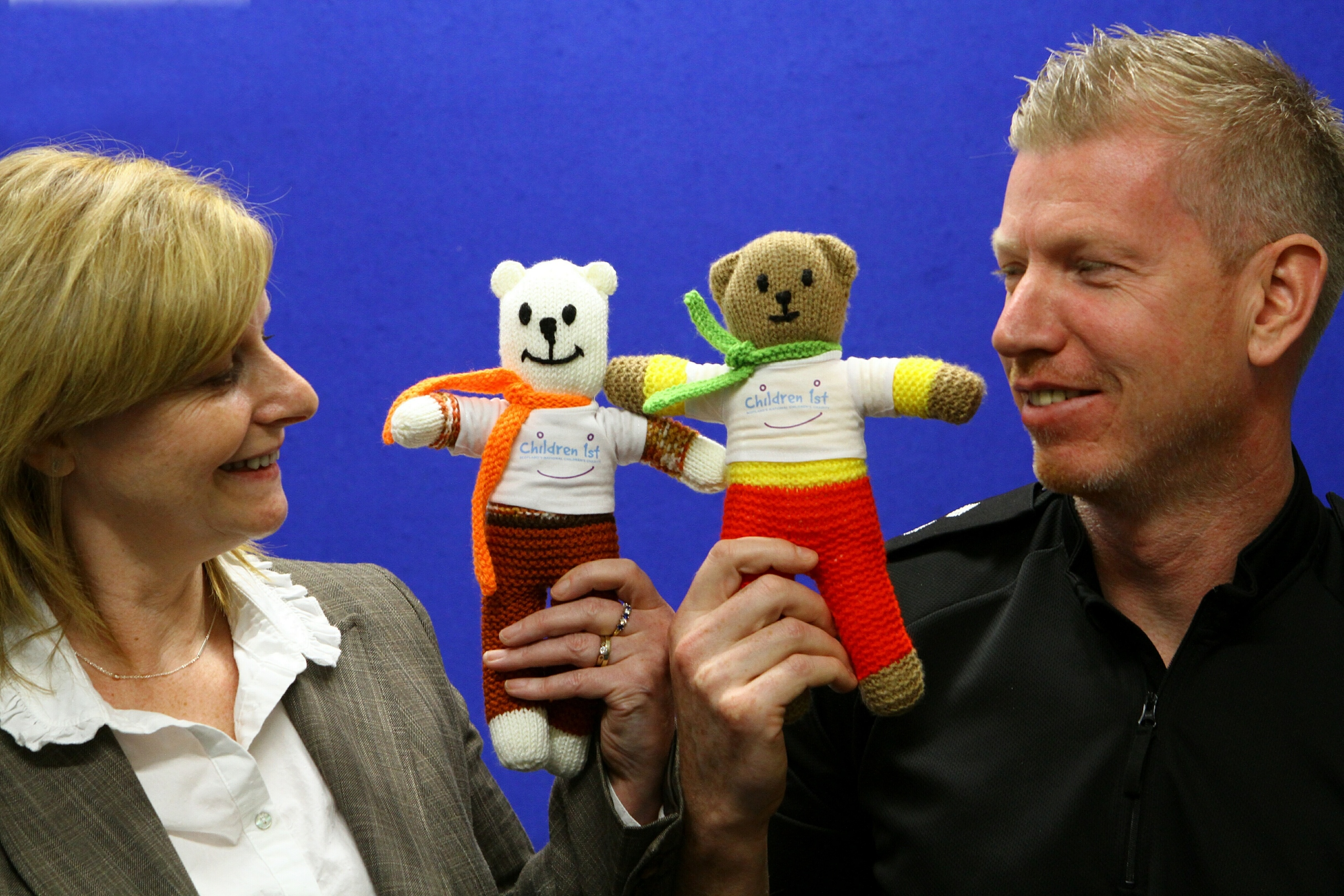 Linda Jardine and Inspector Boath with two of the teddies.