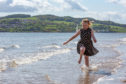 Kadie Stephenson plays in the water at Broughty Ferry