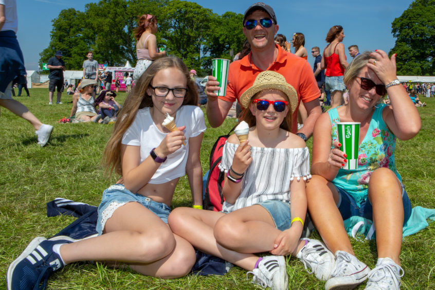 Ian McDiarmid with wife Claire and daughters Eilidh (12) and Nieve (10) from Forfar