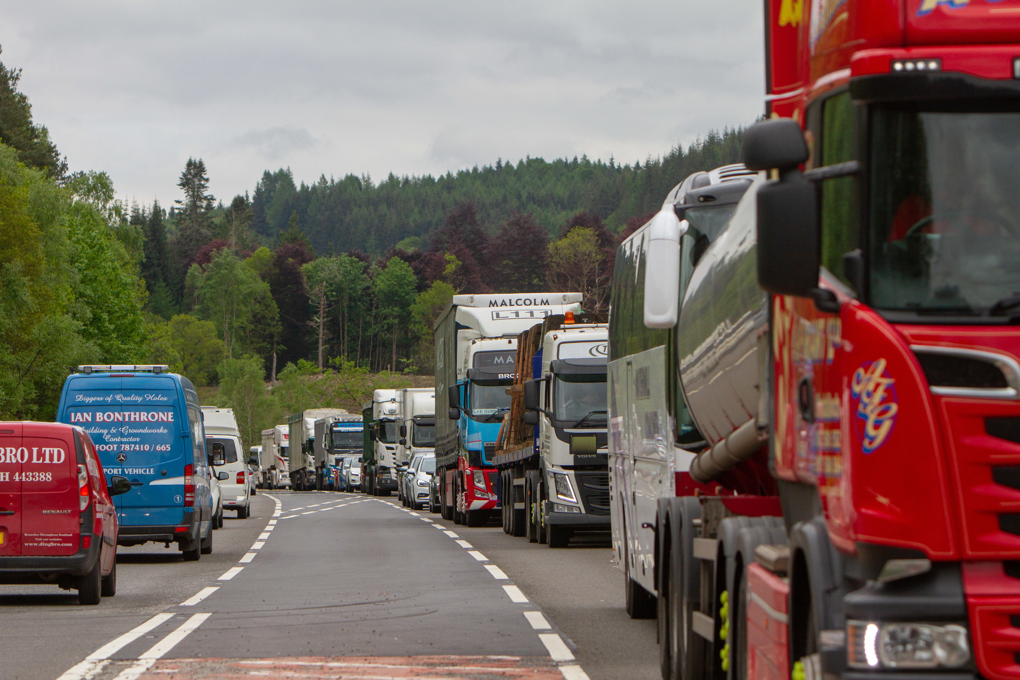Traffic backed up from the A9 crash