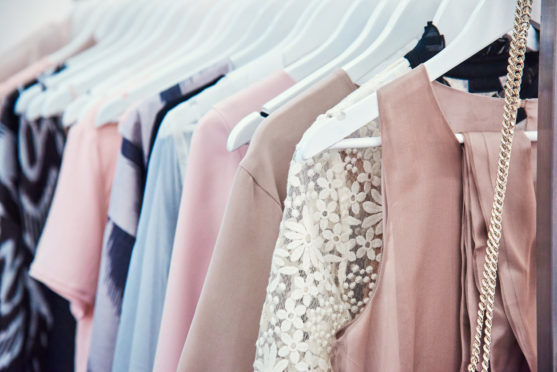 Details of bright beautiful pastel tones dress collection in show room
