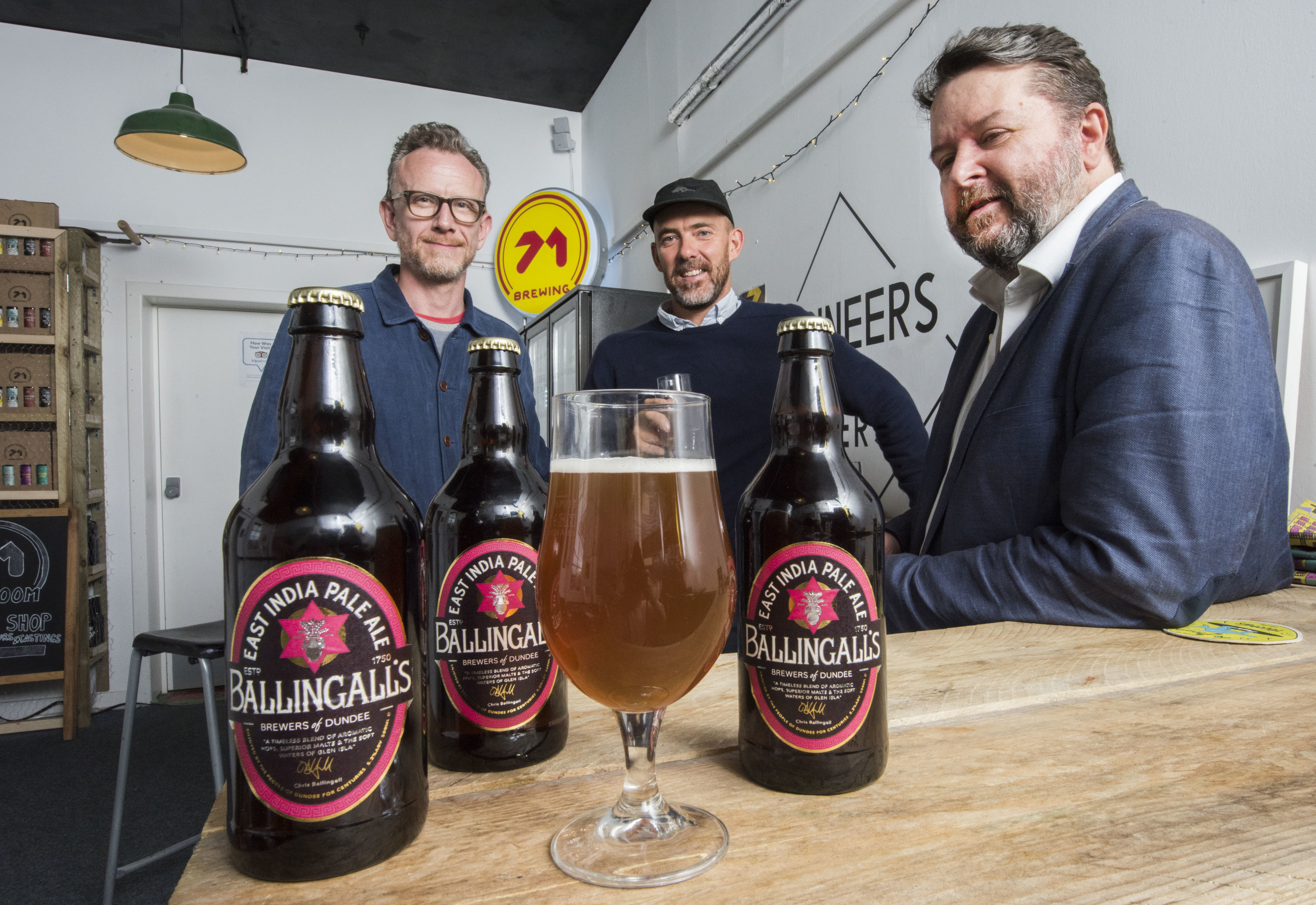 Old Dundee beer Ballingals is back for WestFest. Pictured (left to right) is brewer Duncan Alexander, Oliver Pilcher and Chris Ballingall trying the new beer
