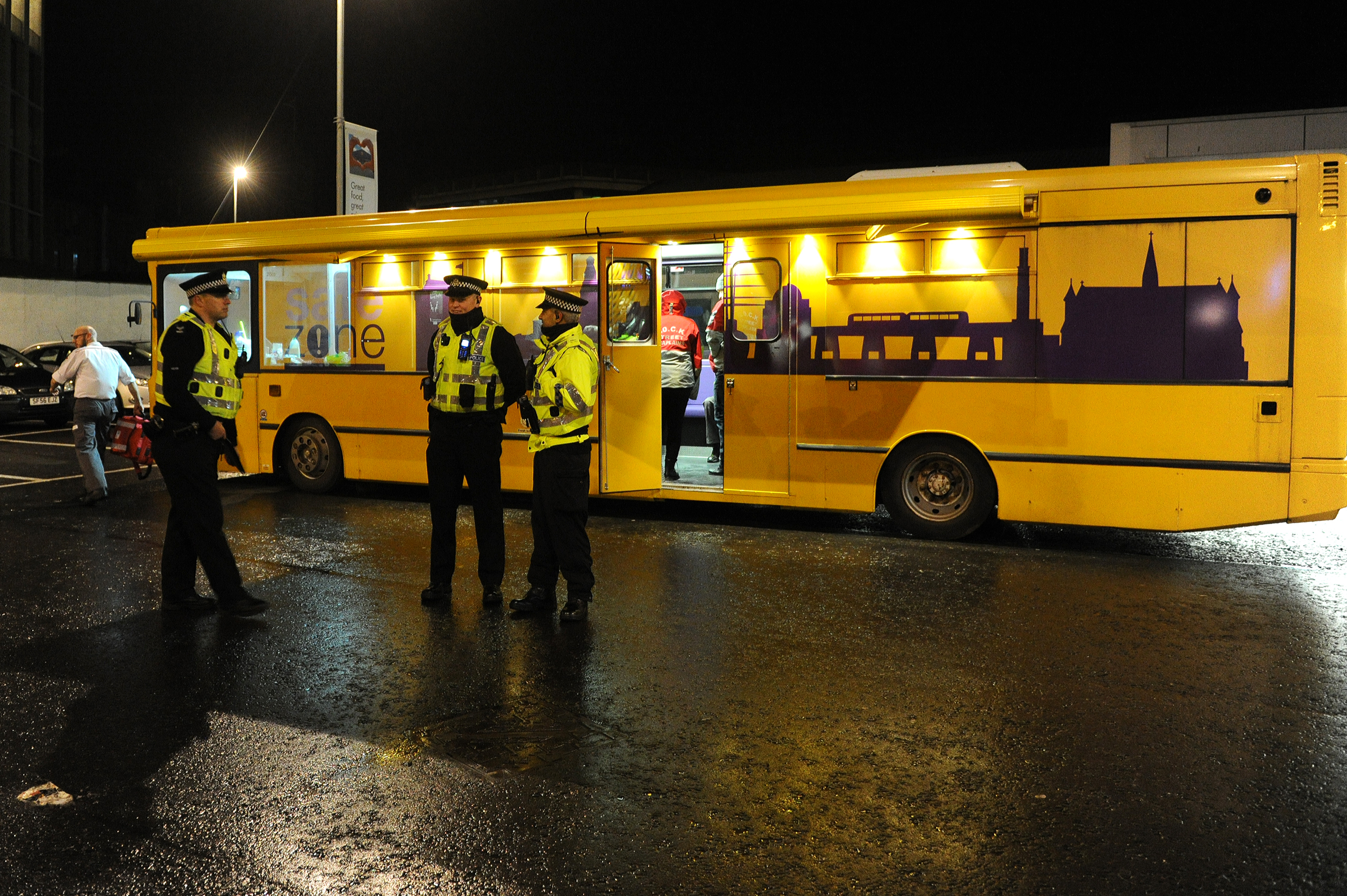 The incident happened after Waldron threatened officers on the Safe Zone bus in Dundee city centre