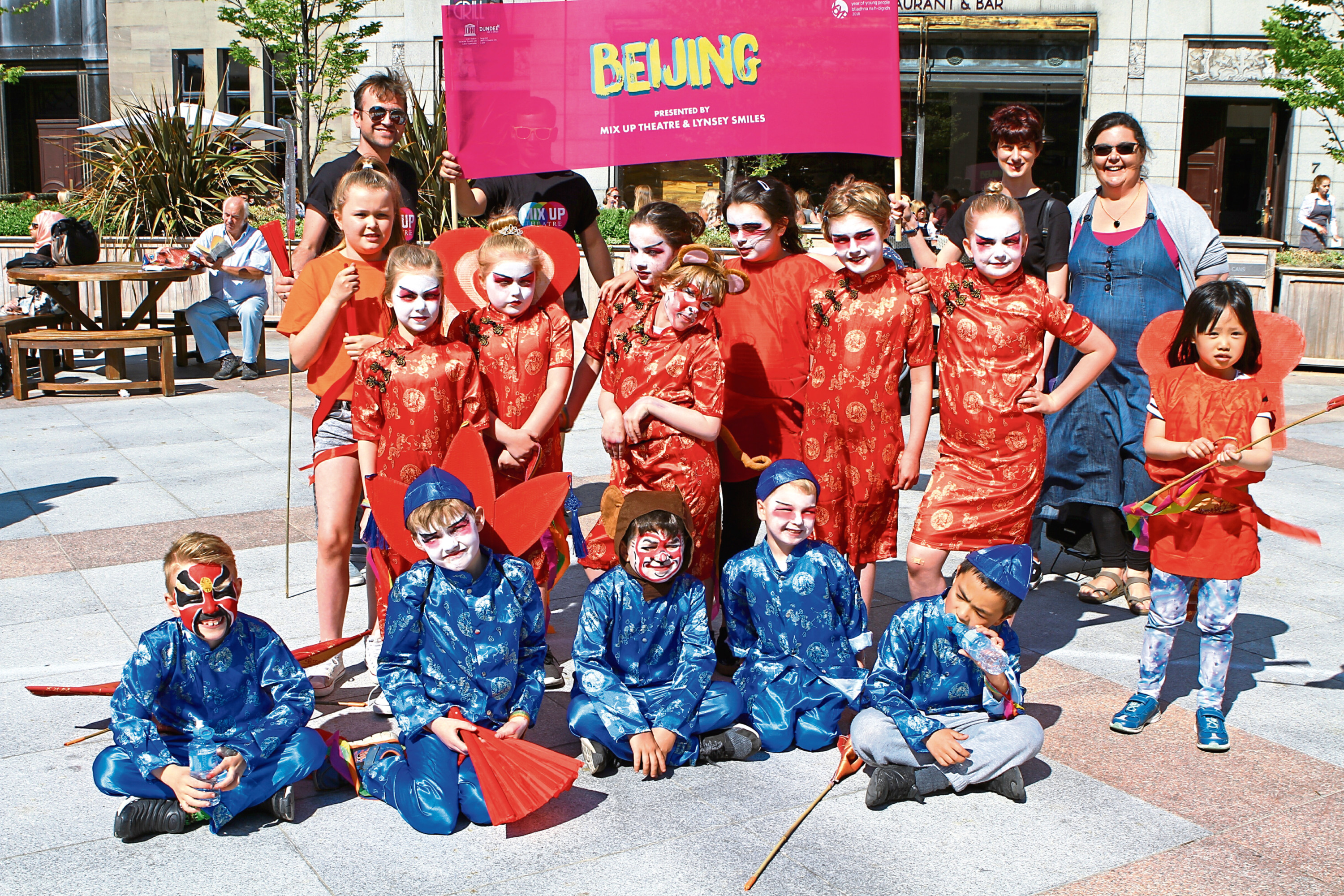 Courier News - Derek Healy story - Dundee Design Parade.  CR0001564 Picture shows; the group from the Mix Up Theatre pose for the camera, at the Dundee Design Parade, in Dundee City Centre today. Saturday 26th May 2018.