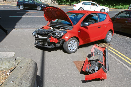 The Vauxhall Corsainvolved in the accident on Cleghorn Street in Dundee on Tuesday