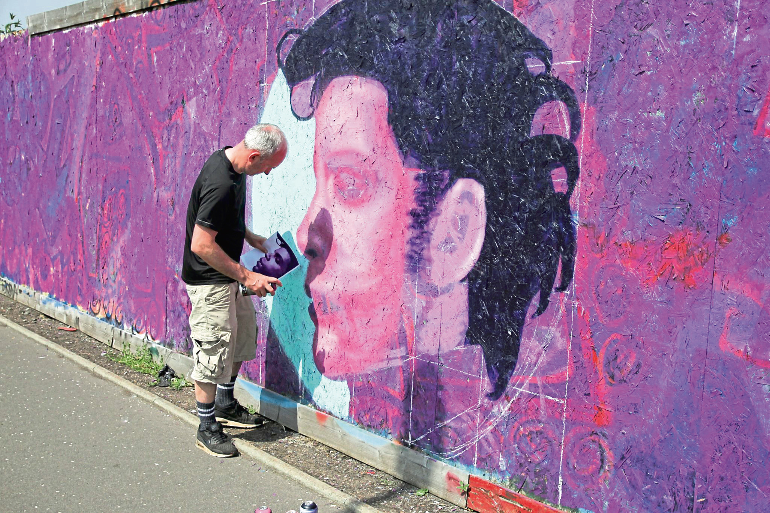 One of the participants in the Graffiti Jam