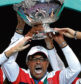 French captain Yannick Noah holds the cup after France won the Davis Cup at the Pierre Mauroy stadium in Lille last year
