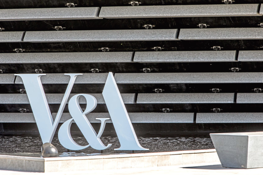 The signage at the front of the V&A.