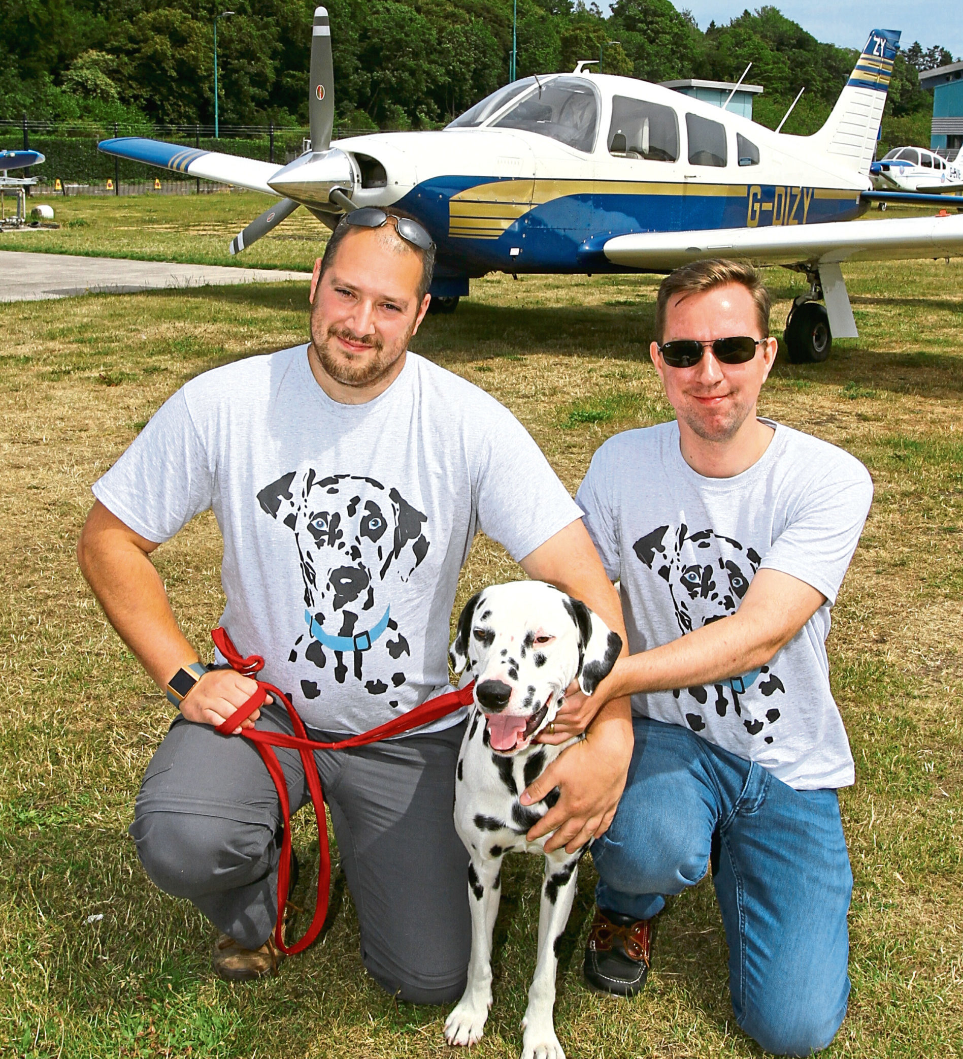 William, right, Nick and Ludo get set for their flight
