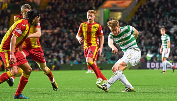 Former Dundee United midfielder Stuart Armstrong (right) has left Celtic to join Southampton in a £7 million move.