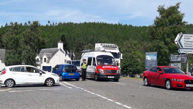 Scene of the crash near Blair Atholl