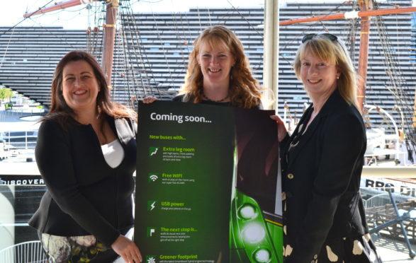 Councillor Lynne Short, Xplore Managing Director Christine McGlasson and Shona Robison MSP