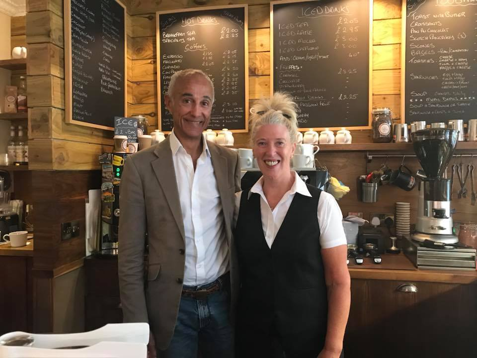 Coffee & Co boss Heather Sharpe with Andrew Ridgeley