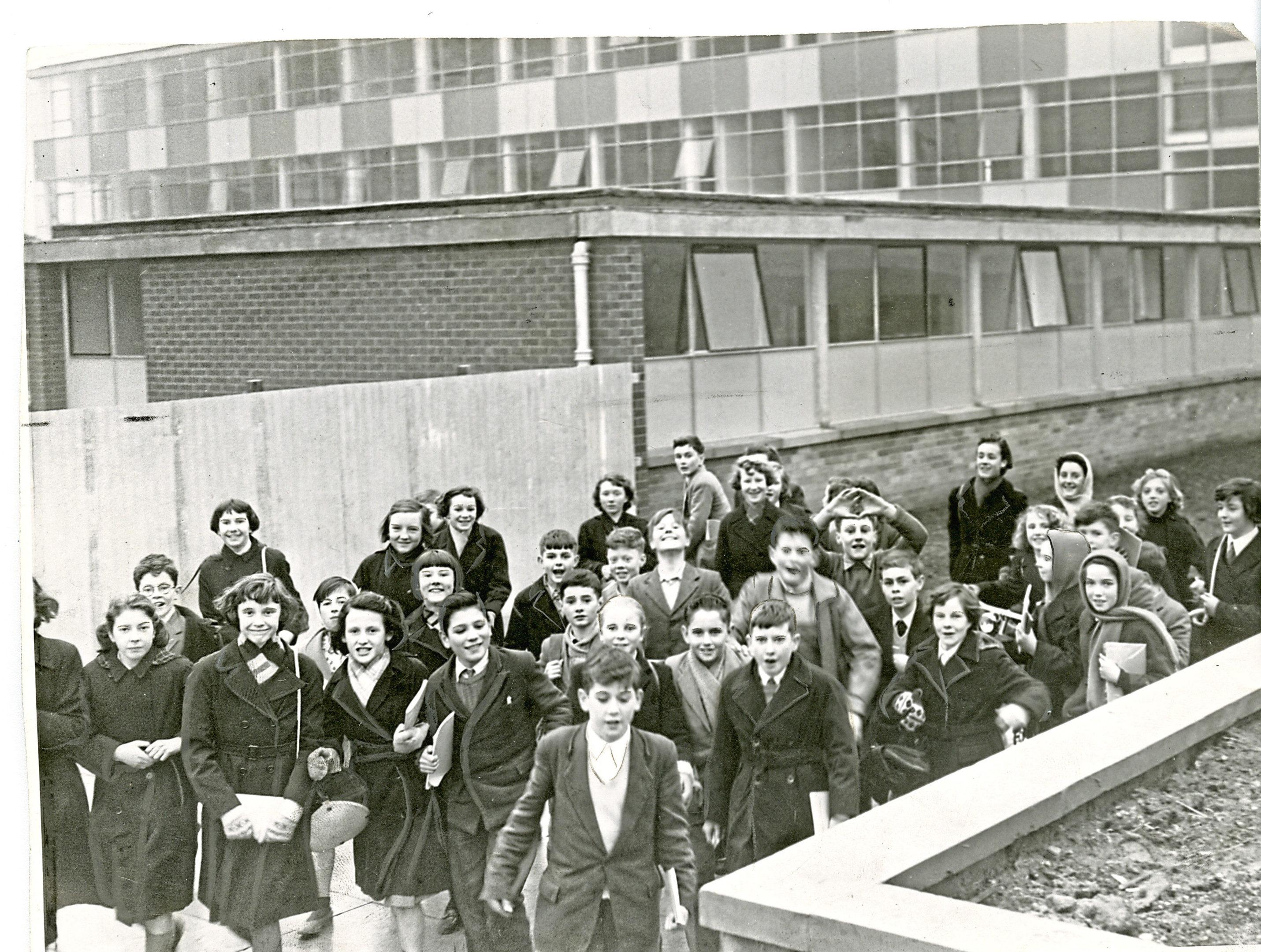 Kirkton High pupils outside the school in February 1960