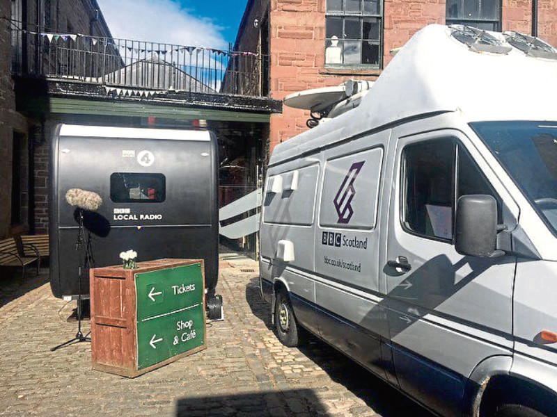 The mobile unit and BBC radio van at the Verdant Works
