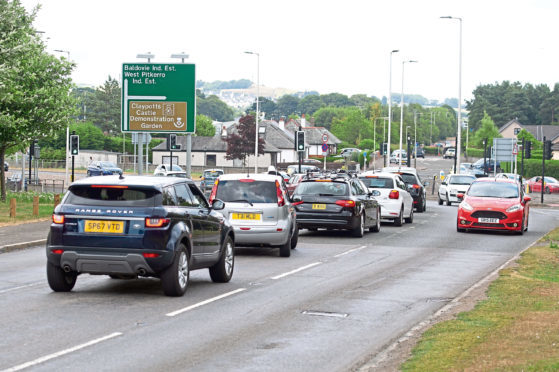 Traffic negotiating the Claypotts junction.