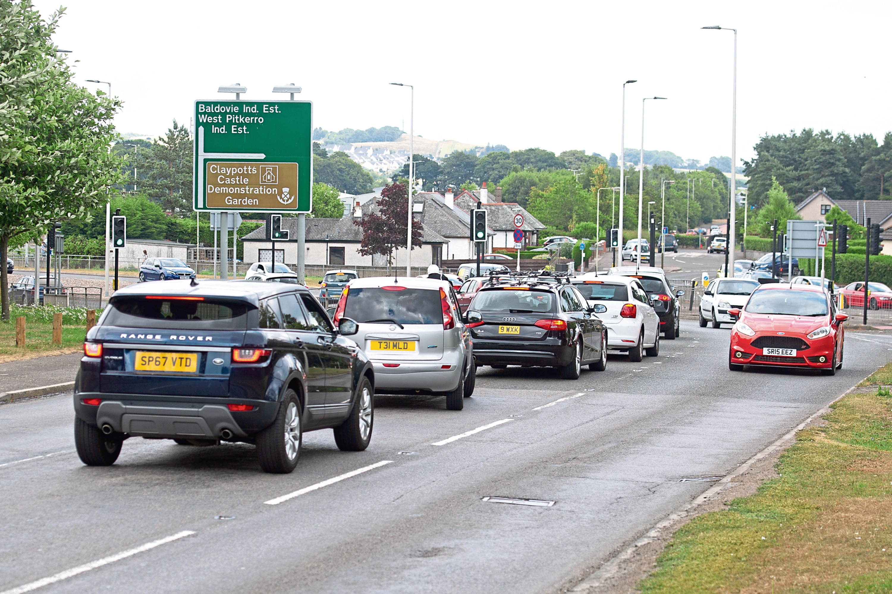 Traffic negotiating the Claypotts junction.