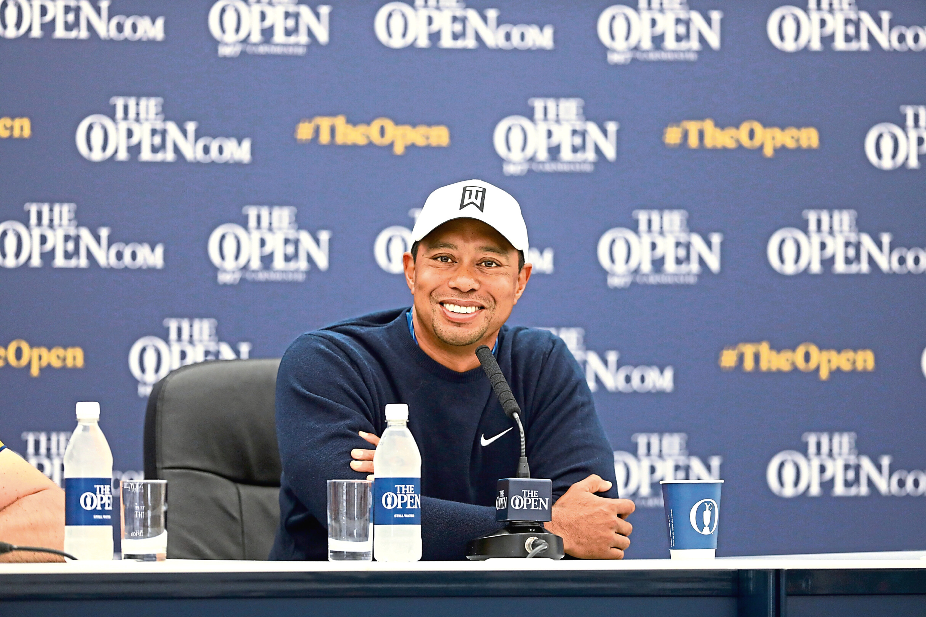 Tiger Woods at a press conference ahead of The Open