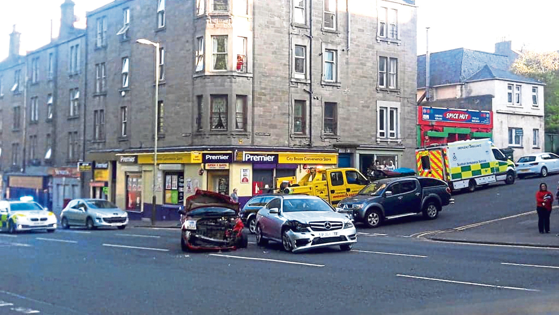 Emergency services attended the incident, which took place on Lochee Road at the junction with Cleghorn Street.