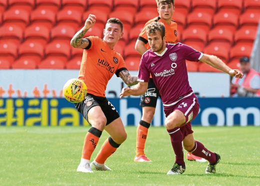 Fraser Aird in action for Dundee United.