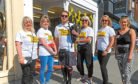 Picture shows, from left, Hilary Carver, Laura Ross, piper Greg Beckett, Morag, CFT fundraising manager in Scotland Nicola Holland and Fiona Beckett
