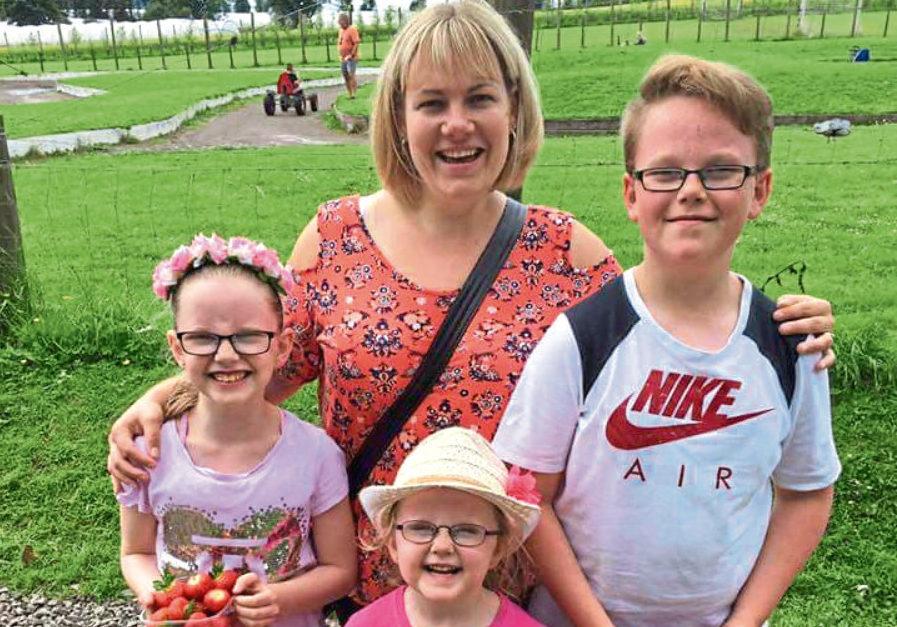 Lisa Halkett and her children  Declan, 3, Amy, 10, and Lucy, 6