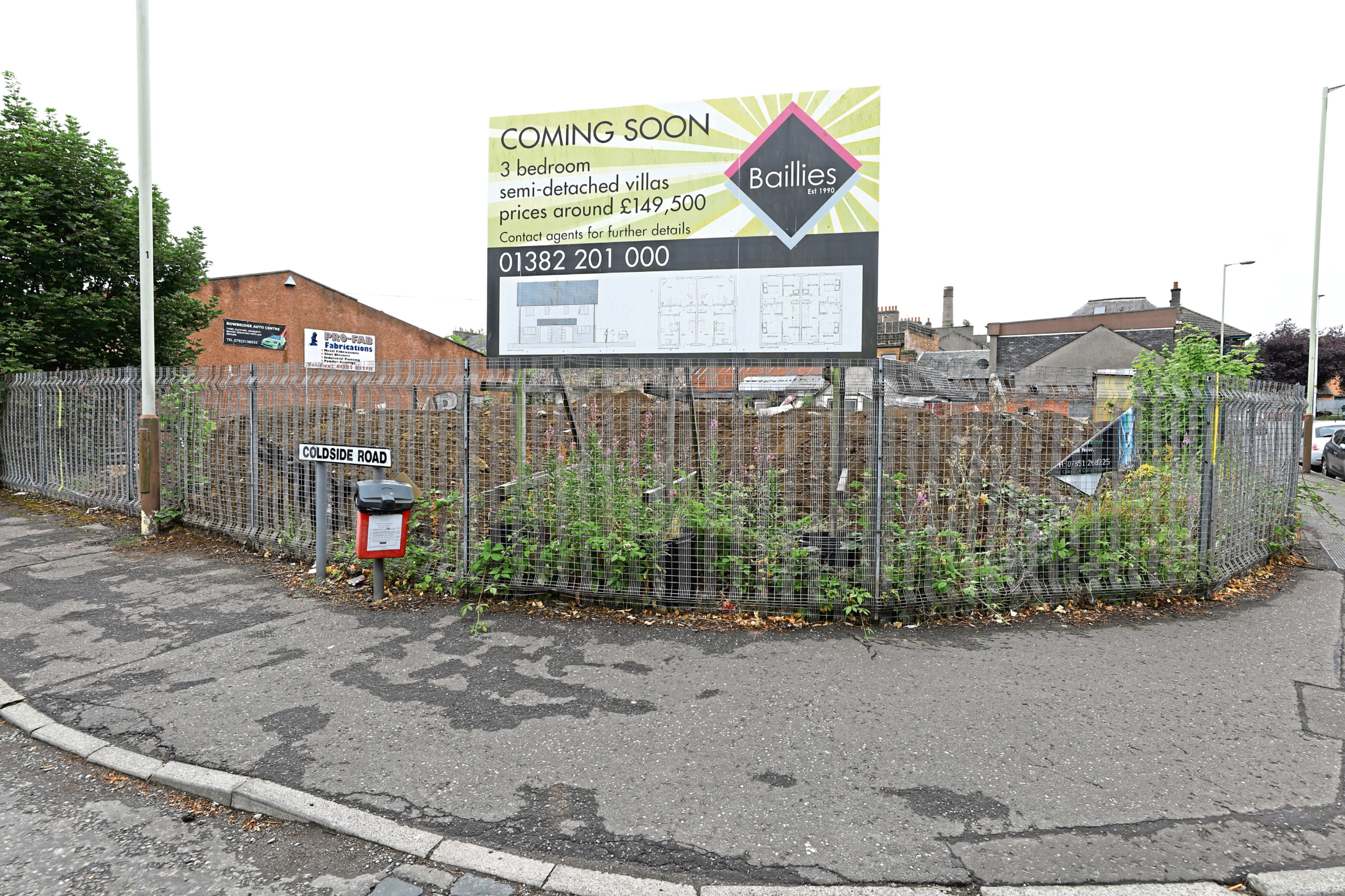 The site of the proposed new houses on the corner of Coldside Road and Hospital Street in Dundee