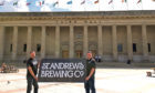 Tim Butler and Phil Mackey of St Andrews Brewing Company, outside Dundee's Caird Hall