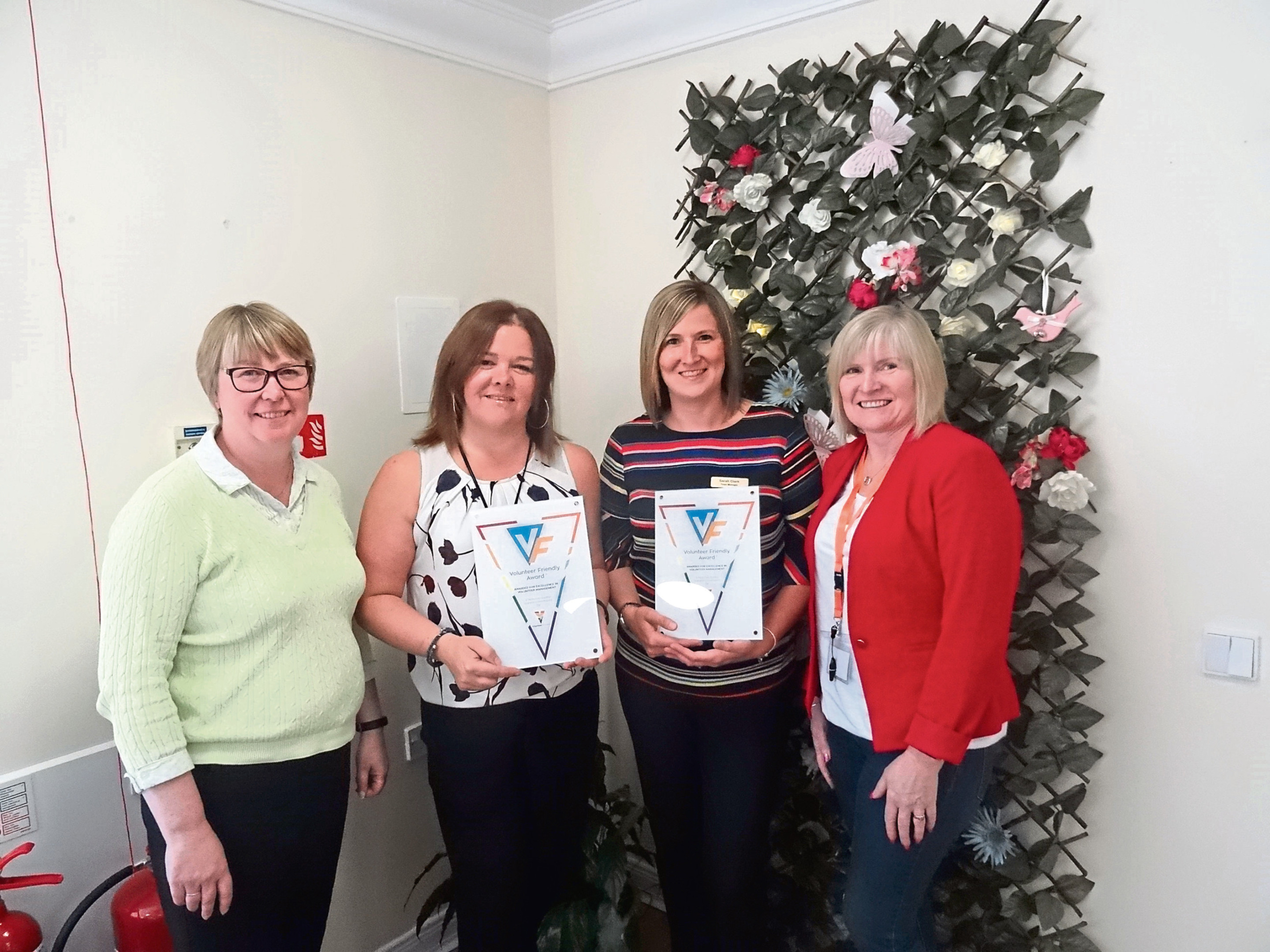 Picture shows (from left) Angela Smith, resource manager Dundee Health and Social Care Partnership; Sarah Clark, team manager at Craigie House; Lynn Thain, team manager at Menzieshill House and Wendy Taylor.